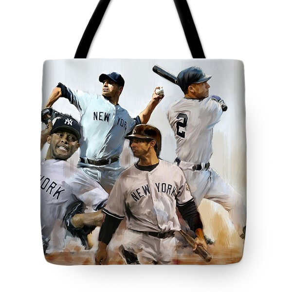 Core  Derek Jeter Mariano Rivera  Andy Pettitte Jorge Posada Tote Bag by Iconic Images Art Gallery David Pucciarelli
