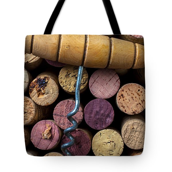 Corkscrew On Top Of Wine Corks Tote Bag by Garry Gay