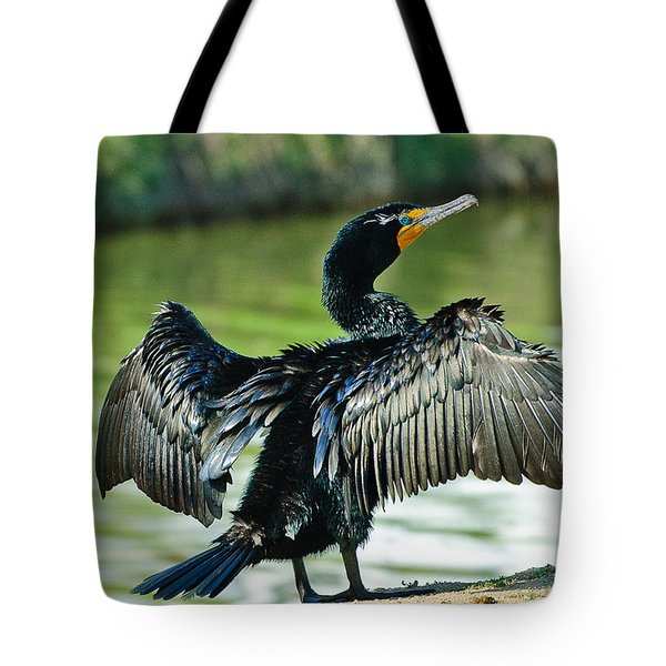 Cormorant Drying Wings Tote Bag by  Bob and Nadine Johnston