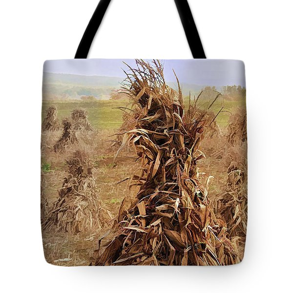 Corn Stalk Bales Tote Bag by Marcia Colelli