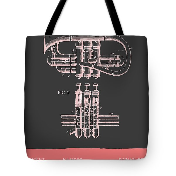 Cornet Patent Drawing From 1901 - Gray Salmon Tote Bag by Aged Pixel