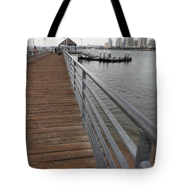 Coronado Pier Overlooking The San Diego Skyline 5d24354 Tote Bag by Wingsdomain Art and Photography