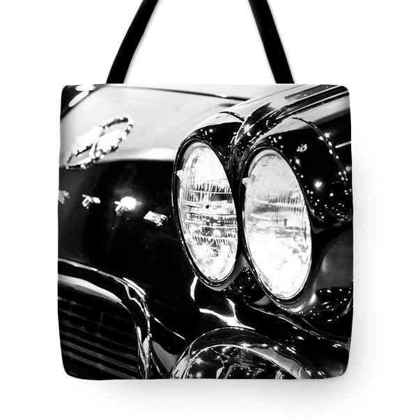 Corvette Picture - Black and White C1 First Generation Tote Bag by Paul Velgos