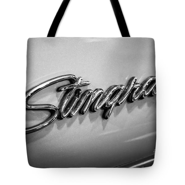 Corvette Stingray Emblem Black And White Picture Tote Bag by Paul Velgos