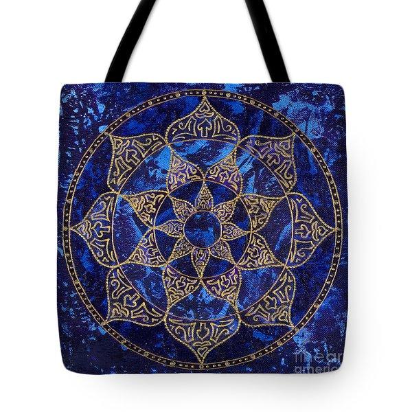 Cosmic Blue Lotus Tote Bag by Charlotte Backman