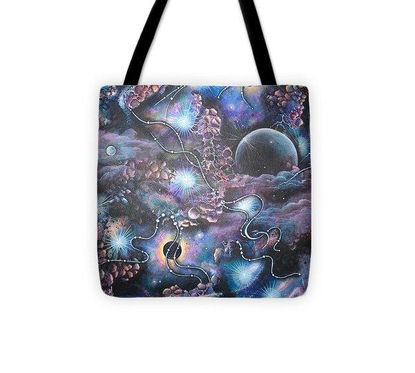 Cosmic Landscape Tote Bag by Krystyna Spink