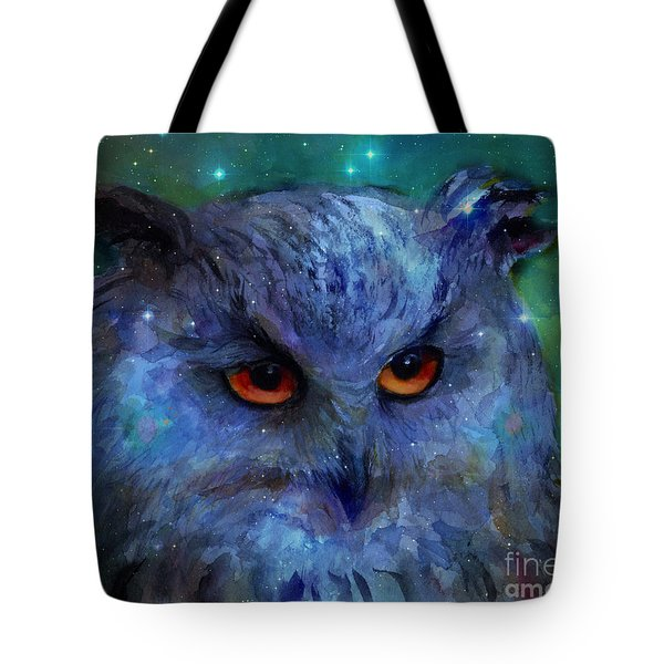 Cosmic Owl Painting Tote Bag by Svetlana Novikova