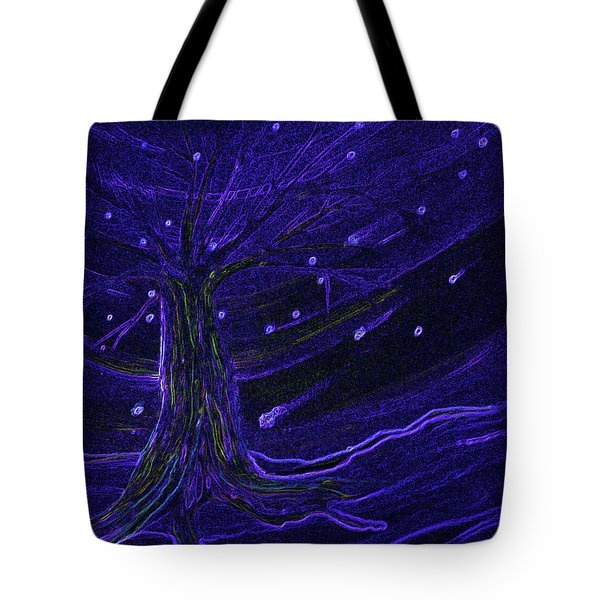 Cosmic Tree Blue Tote Bag by First Star Art