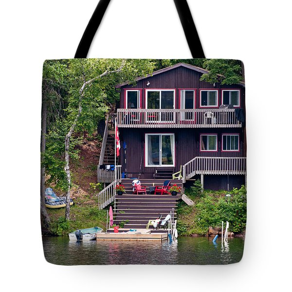 Cottage On The Water Tote Bag by Les Palenik