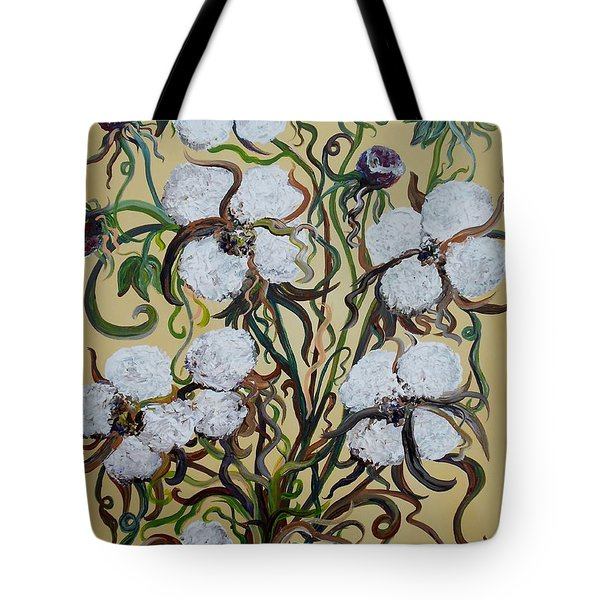 Cotton #2 - Cotton Bolls Tote Bag by Eloise Schneider