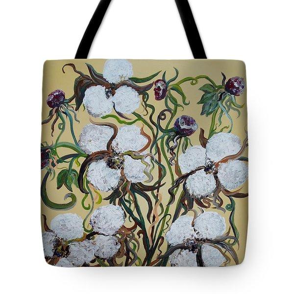 Cotton #2 - Cotton Bolls Tote Bag by Eloise Schneider