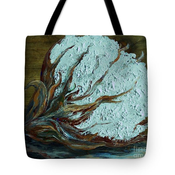 Cotton Boll on Wood Tote Bag by Eloise Schneider