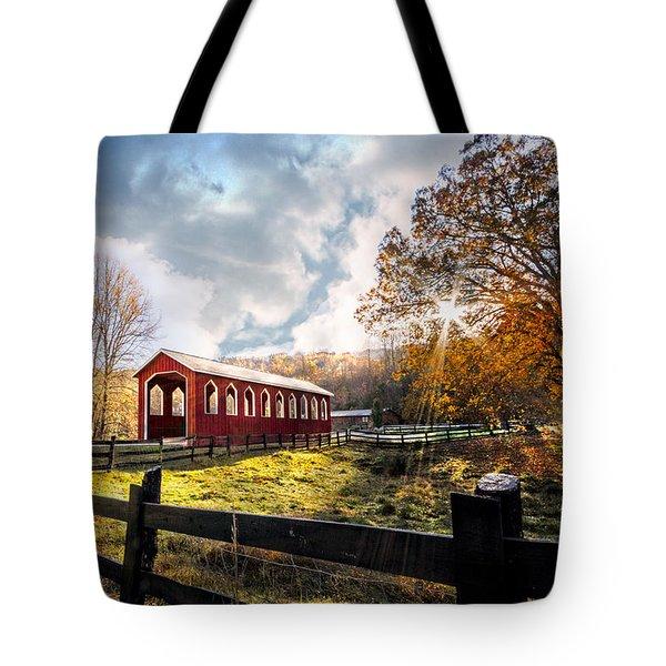 Country Covered Bridge Tote Bag by Debra and Dave Vanderlaan