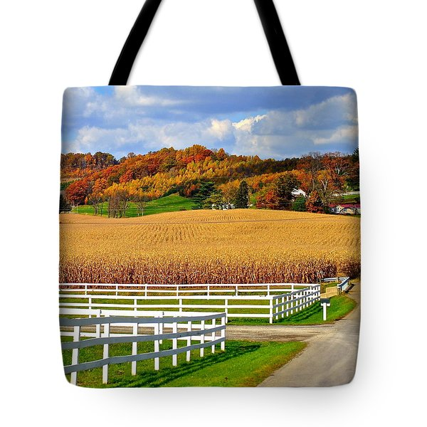 Country Lane Tote Bag by Frozen in Time Fine Art Photography