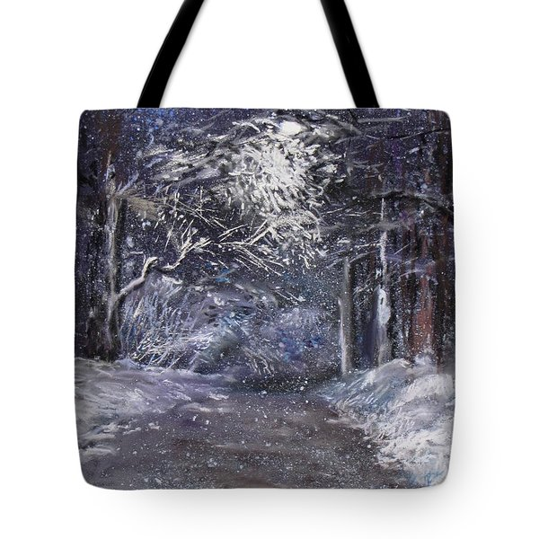 Country Road On A Wintery Night Tote Bag by Jack Skinner