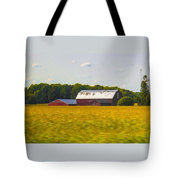 Countryside Landscape With Red Barns Tote Bag by Ben and Raisa Gertsberg