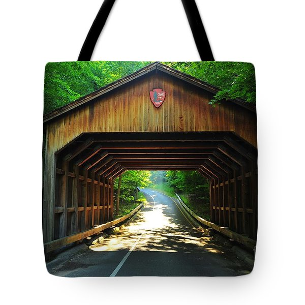 Covered Bridge At Sleeping Bear Dunes National Lakeshore Tote Bag by Terri Gostola