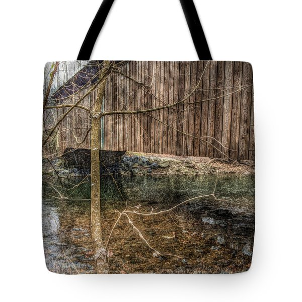 Covered Bridge Snowy Day Tote Bag by Susan Maxwell Schmidt