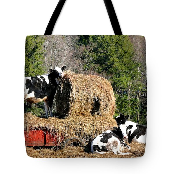 Cow Country Buffet Tote Bag by Christina Rollo