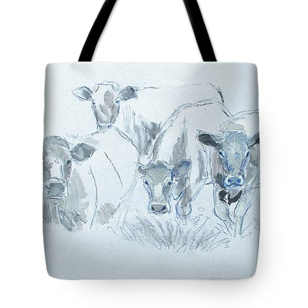 Cow drawing Tote Bag by Mike Jory