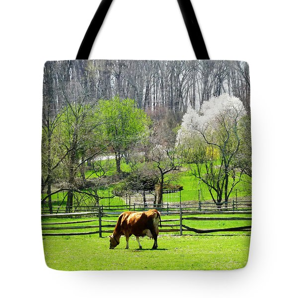 Cow Grazing In Pasture In Spring Tote Bag by Susan Savad