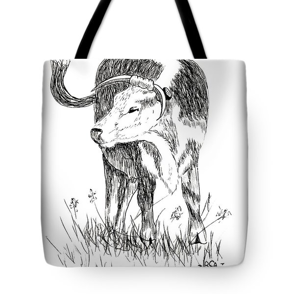 Cow in Pen and Ink Tote Bag by Rose Santuci-Sofranko