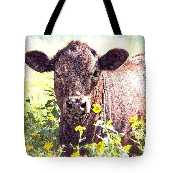 Cow In Wildflowers Tote Bag by Ella Kaye Dickey