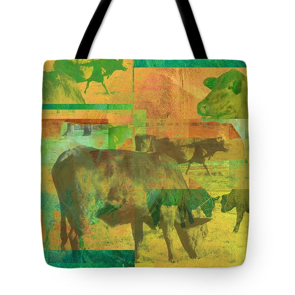 Cow Pasture Collage Tote Bag by Ann Powell