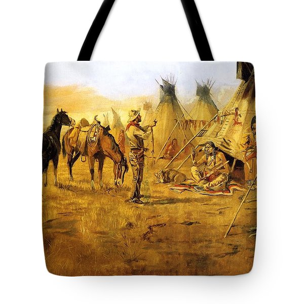 Cowboy Bargaining for the Indian Girl Tote Bag by Charles Russell