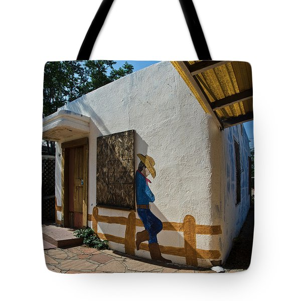 Cowboy Mural In Benson Arizona Tote Bag by Dave Dilli