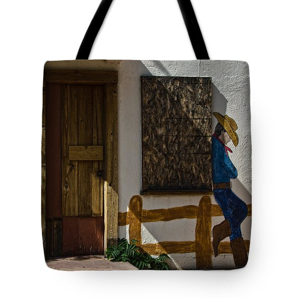 Cowboy Mural In Benson Arizona Usa Tote Bag by Dave Dilli