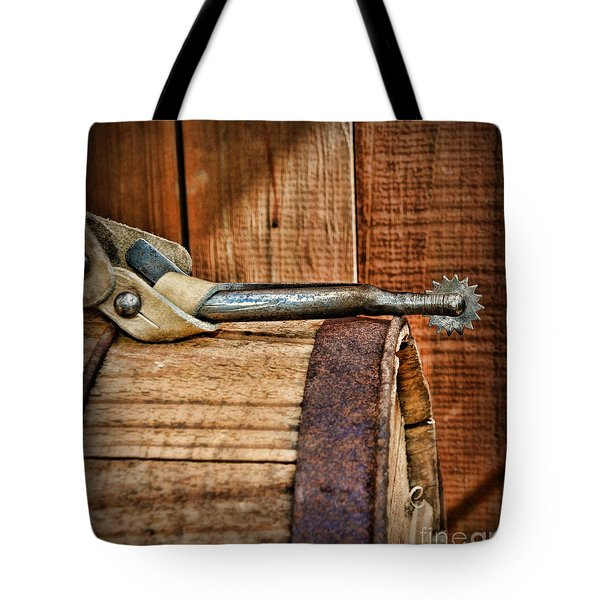 Cowboy themed Wood Barrel and Spur Tote Bag by Paul Ward