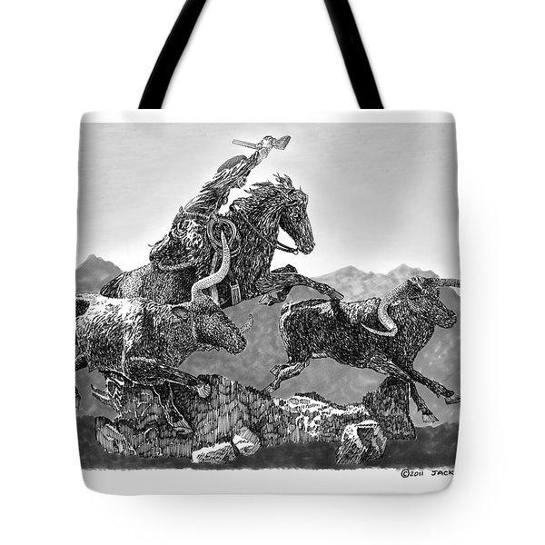 Cowboys and Longhorns Tote Bag by Jack Pumphrey