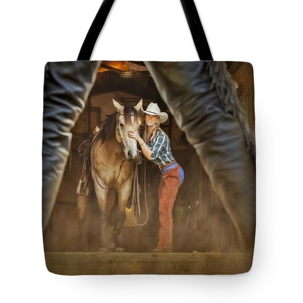 Cowgirl And Cowboy Tote Bag by Susan Candelario