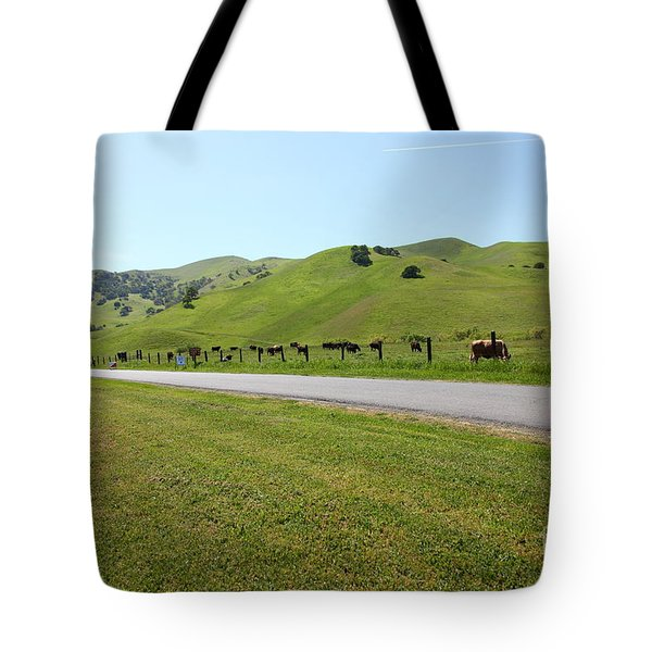 Cows Along The Rolling Hills Landscape of The Black Diamond Mines in Antioch California 5D22326 Tote Bag by Wingsdomain Art and Photography