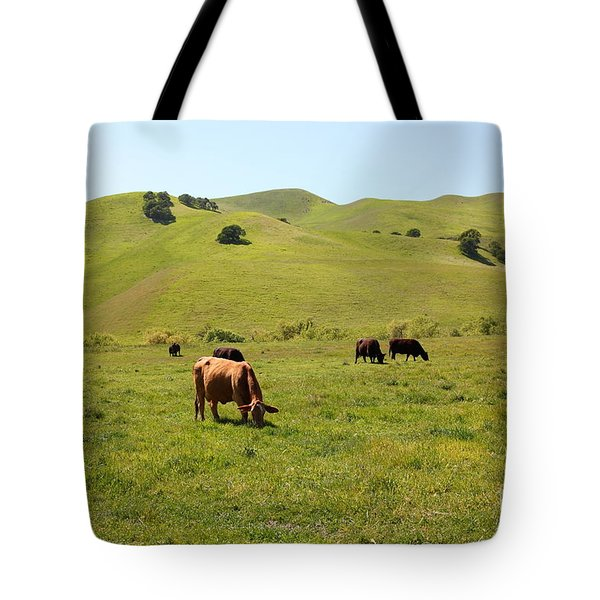 Cows Along The Rolling Hills Landscape of The Black Diamond Mines in Antioch California 5D22350 Tote Bag by Wingsdomain Art and Photography