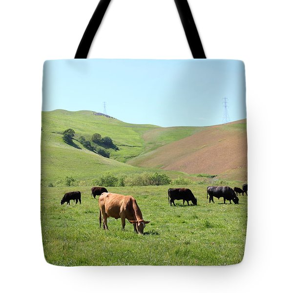 Cows Along The Rolling Hills Landscape of The Black Diamond Mines in Antioch California 5D22355 Tote Bag by Wingsdomain Art and Photography