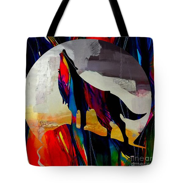 Coyote And The Moon Tote Bag by Marvin Blaine