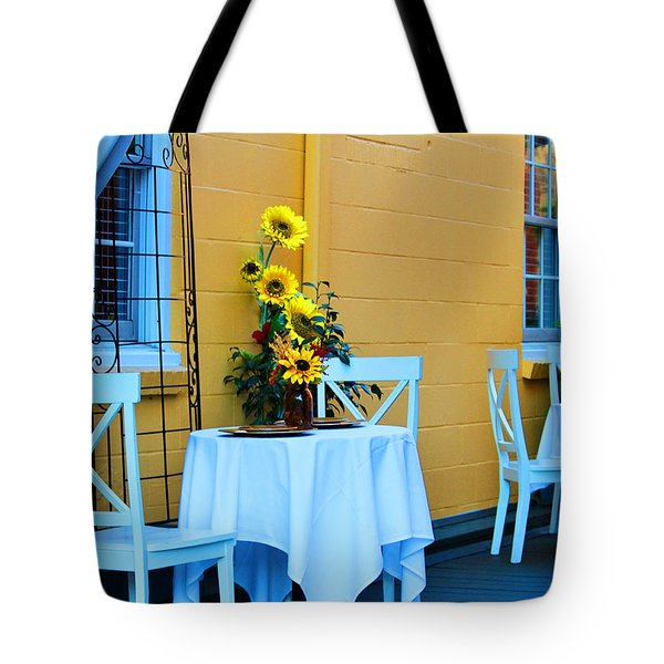 Cozy Table For Two Tote Bag by Cynthia Guinn