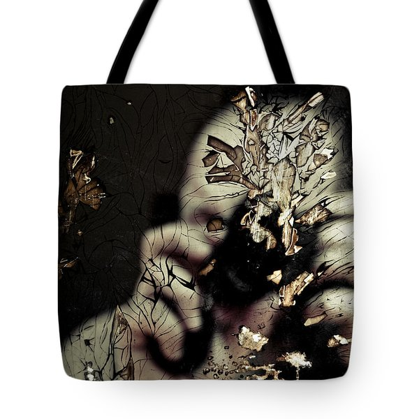 Cracked Portrait 01 Tote Bag by Grebo Gray