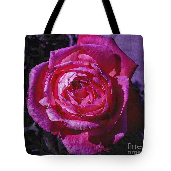 Crackled Fuchsia Rose Tote Bag by Janice Rae Pariza