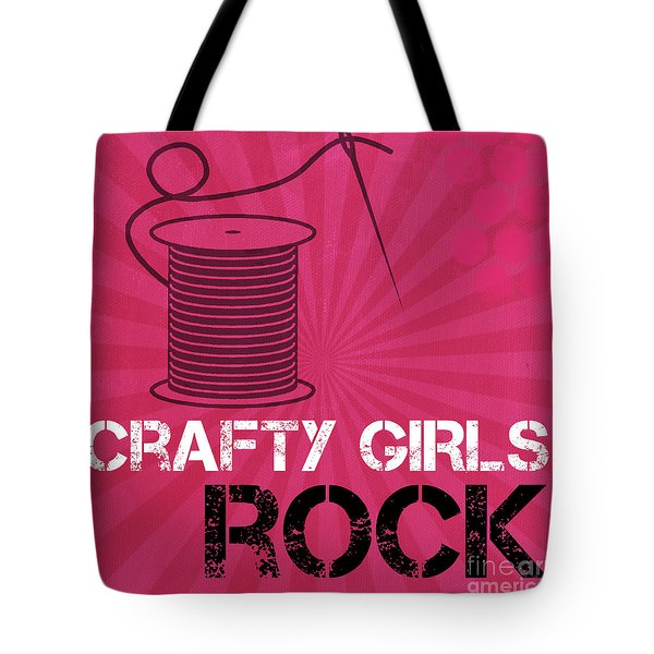 Crafty Girls Rock Tote Bag by Linda Woods