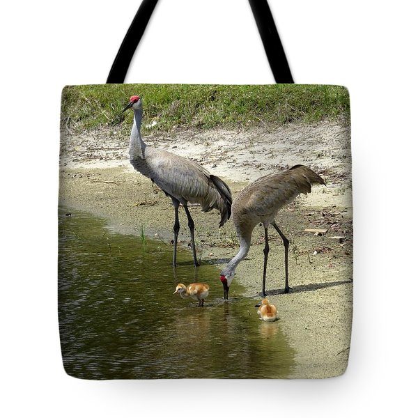 Cranes in the lake Tote Bag by Zina Stromberg