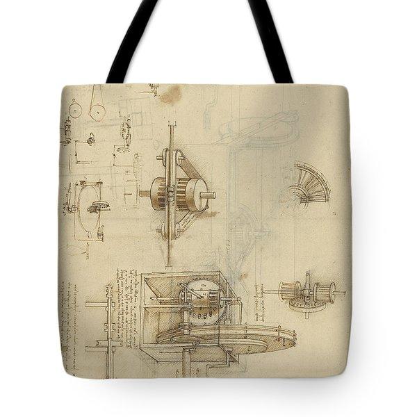 Crank Spinning Machine With Several Details Tote Bag by Leonardo Da Vinci