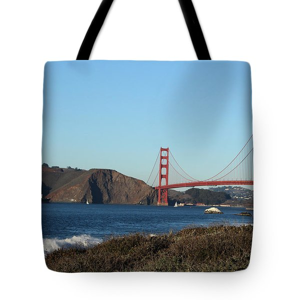 Crashing Waves And The Golden Gate Bridge Tote Bag by Linda Woods