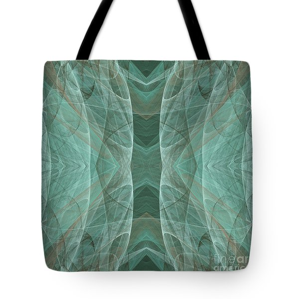 Crashing Waves Of Green 4 - Square - Abstract - Fractal Art Tote Bag by Andee Design