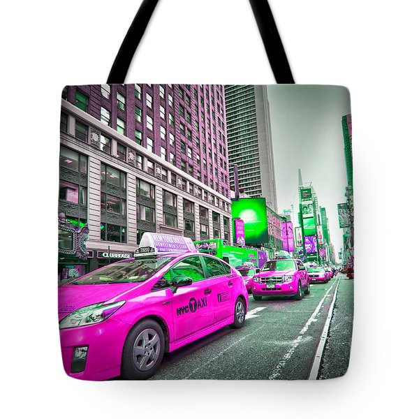 Crazy Cabs In Manhattan Tote Bag by Delphimages Photo Creations