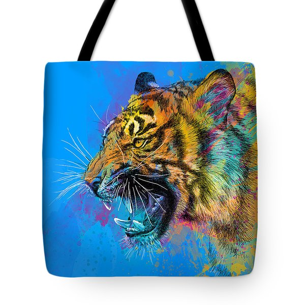 Crazy Tiger Tote Bag by Olga Shvartsur
