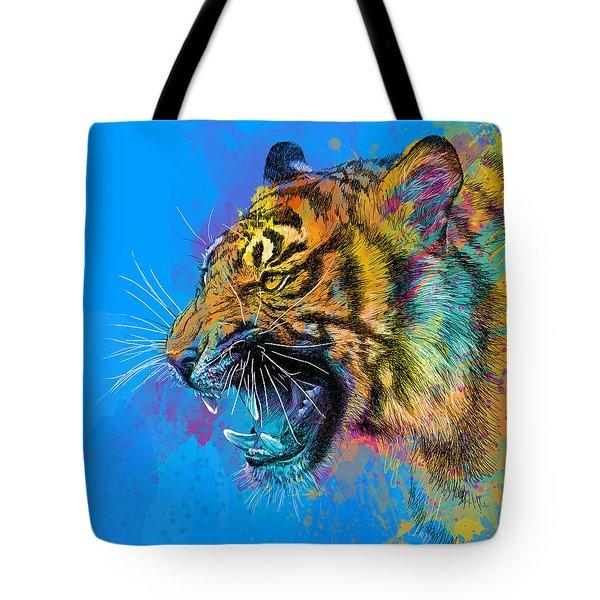 Crazy Tiger Tote Bag by Olga Shvartsur