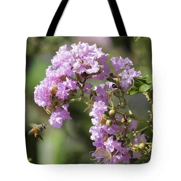 Crepe Myrtle And Honey Bee Tote Bag by Jason Politte
